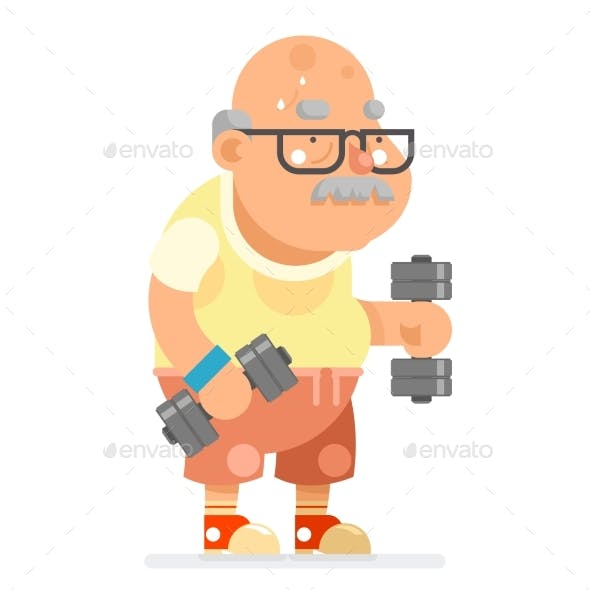 Fitness Dumbbells Exercising Grandfather