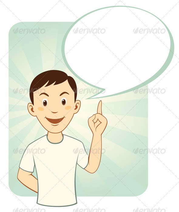 Cartoon Man With Speech Bubble - People Characters