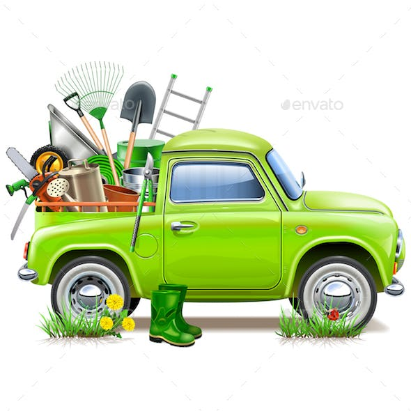 Vector Pickup Truck with Garden Accessories