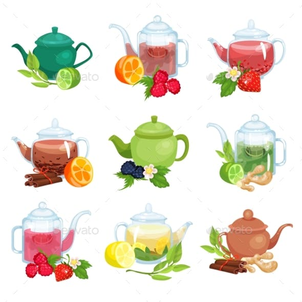 Glass and Ceramic Teapot Set Natural Herbal Tea
