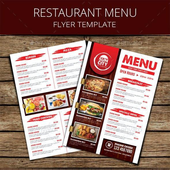 Rustic Restaurant Menu Flyer