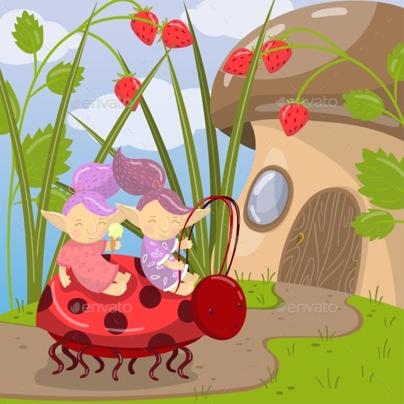 Troll Characters Riding on Ladybug