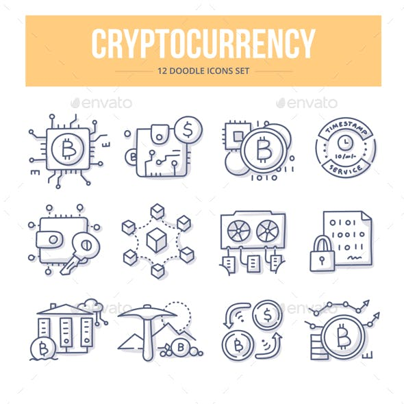 Cryptocurrency Doodle Icons
