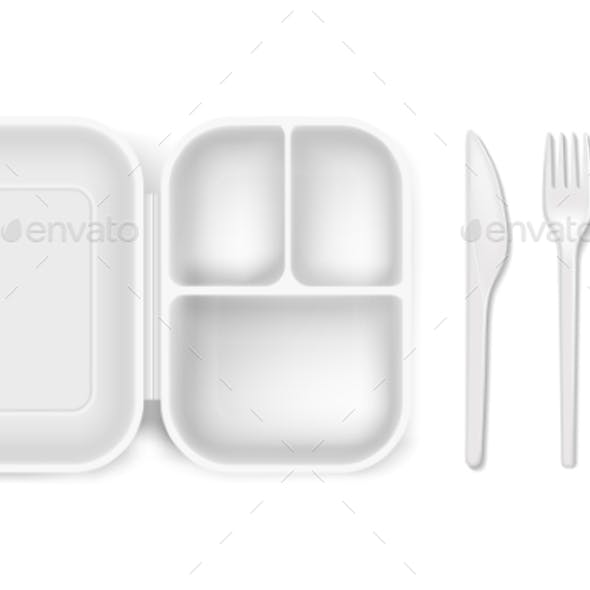 Disposable Plastic Vector Illustration of Lunch
