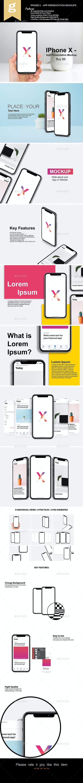 Phone X - App Presentation Mock-Up - Mobile Displays