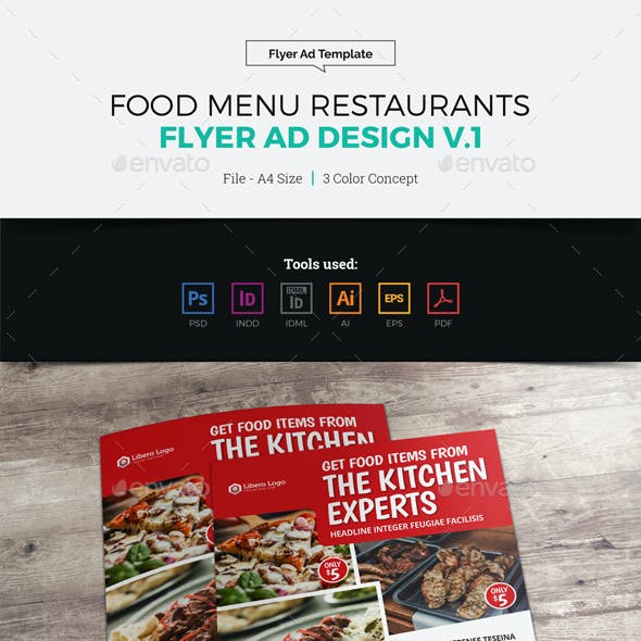 Food Menu Restaurants Flyer Ad Design