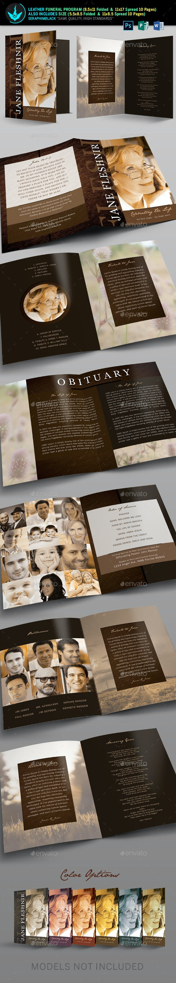 Leather Funeral Program Template - Brochures Print Templates