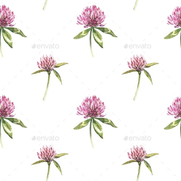 Clover Leaf and Flowers Hand Drawn Seamless