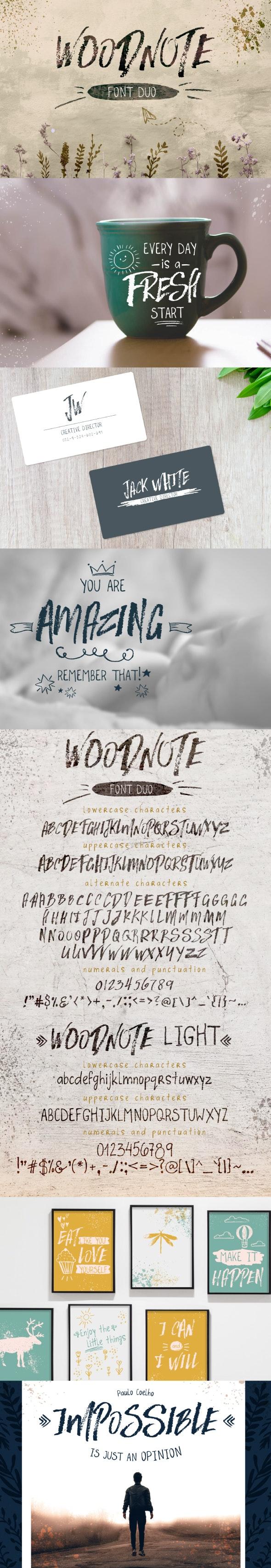 Woodnote Font Duo - Graffiti Fonts
