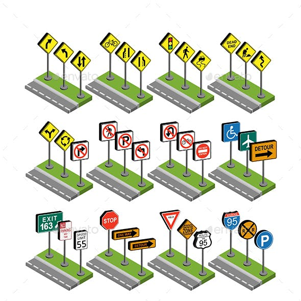 Flat and Isometric Road Signs
