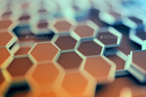 Abstract 3D Rendering of Surface with Hexagons. - Miscellaneous 3D Renders