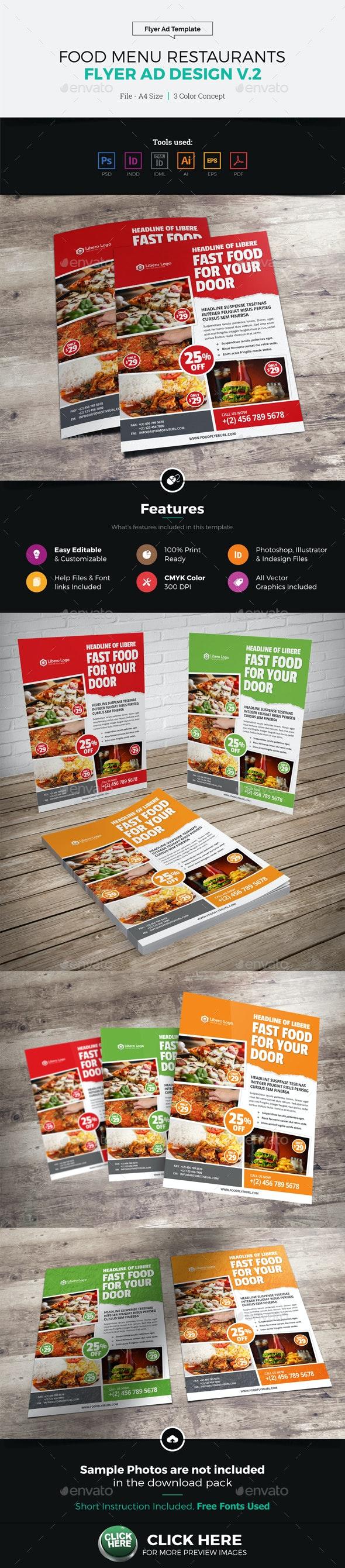 Food Menu Restaurants Flyer Ad Design v2 - Restaurant Flyers
