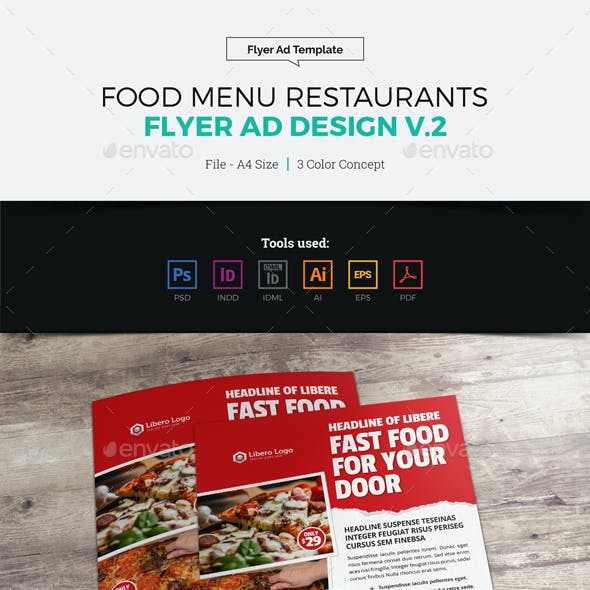 Food Menu Restaurants Flyer Ad Design v2