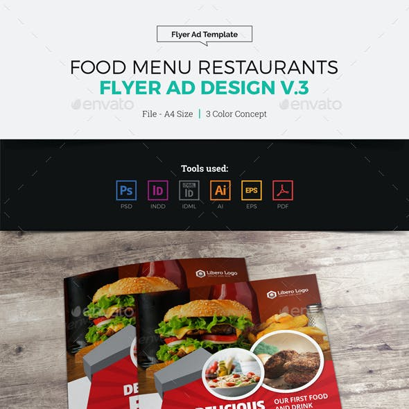 Food Menu Restaurants Flyer Ad Design v3