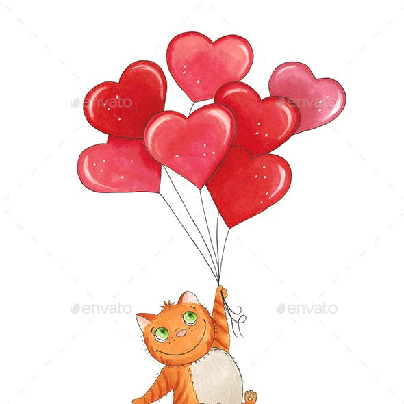 Sketch Cat with Balloons