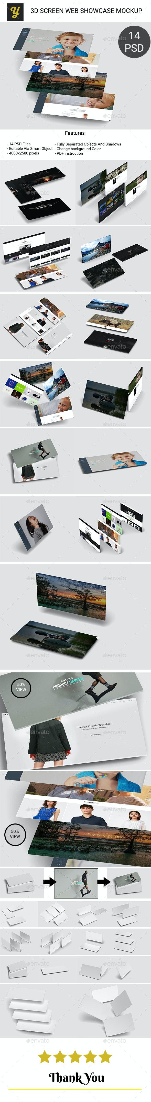 3D Screen Web Showcase Mockups - Miscellaneous Displays