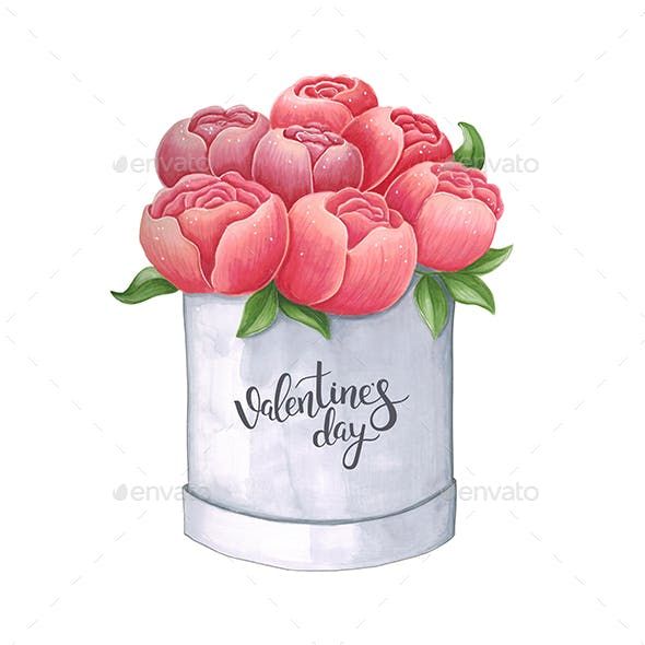 Sketch Peony in a Box