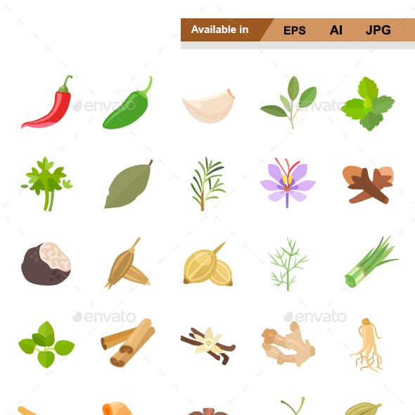 Herbs & Spices Color Vector Icons