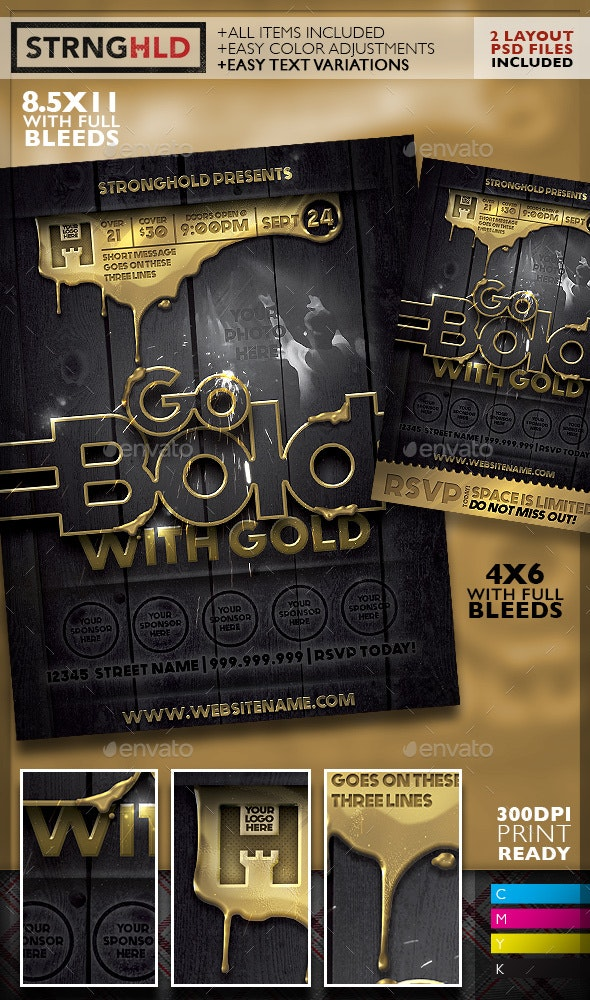 Liquid Gold Event Flyer Template - Clubs & Parties Events