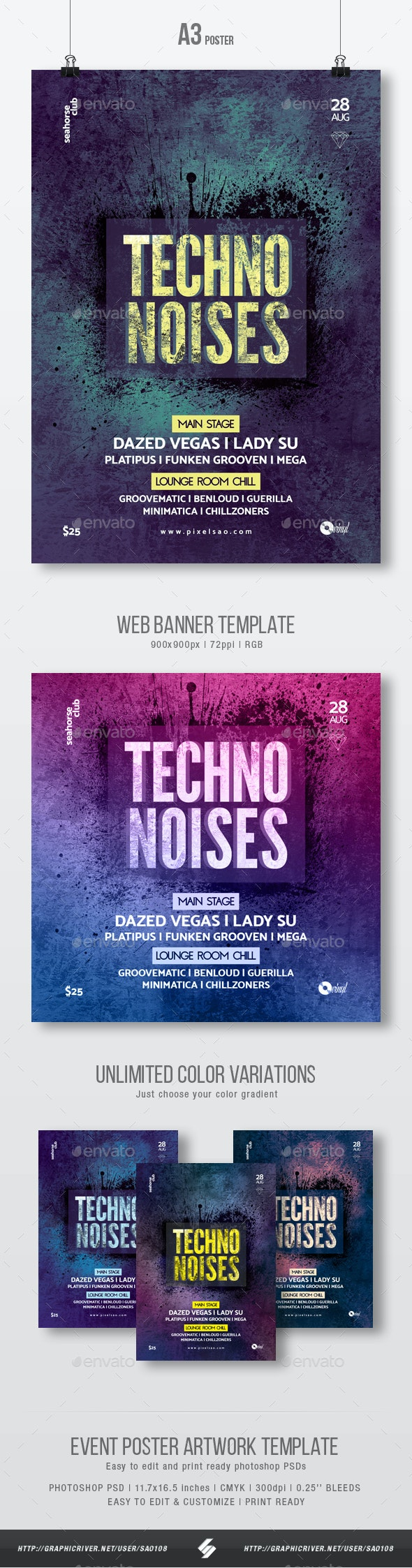Techno Noises - Party Flyer / Poster Template A3 - Clubs & Parties Events