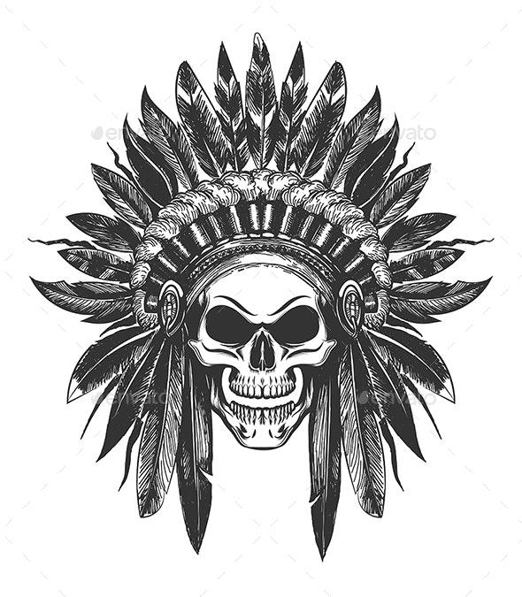 Native American Indian Skull in War Headdress