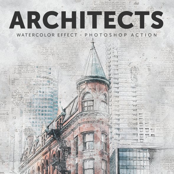 Architects - Watercolor Effect Photoshop Action