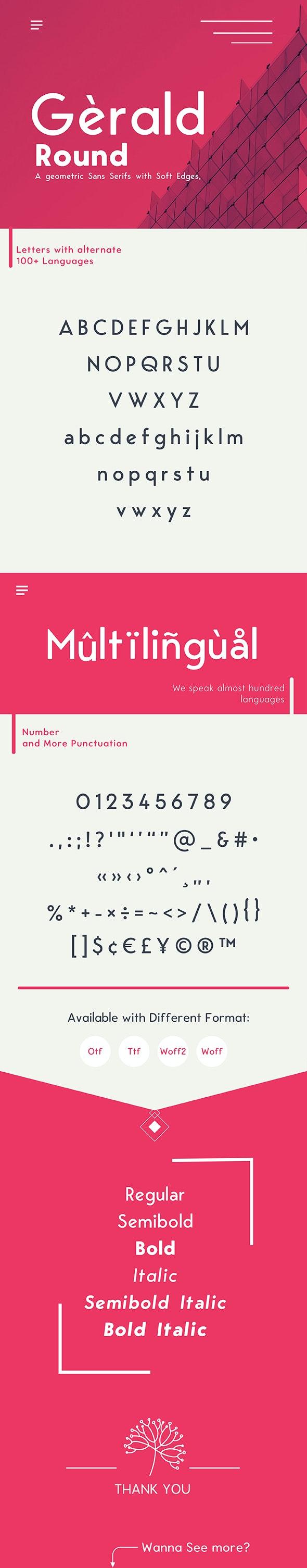 Gerald Round Sans Font - Geometric Elegant Soft Typeface - Sans-Serif Fonts