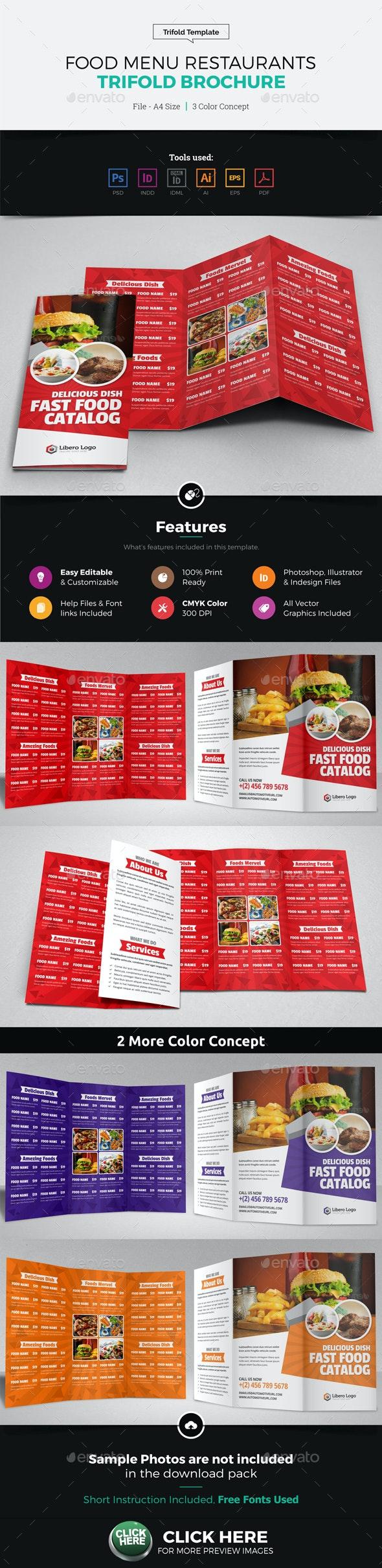 Food Menu Restaurants Trifold Brochure - Catalogs Brochures