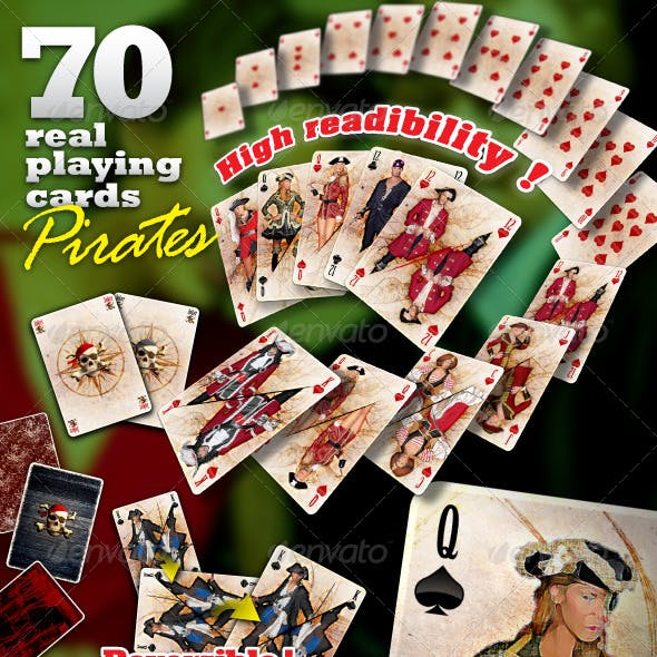 Pirate set : 70 real playing cards for gaming