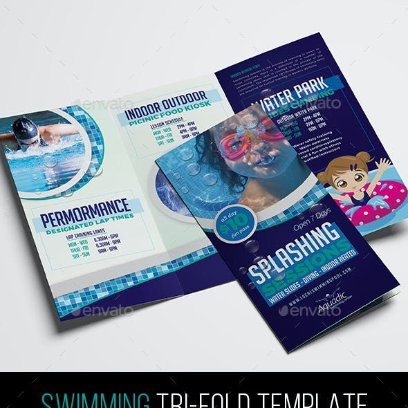 Local Swimming Pool Tri-Fold Brochure Template