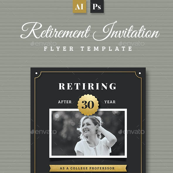 Gold Retirement Invitation Flyer Templates