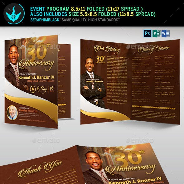 Gold Pastor's Anniversary Church Program Template