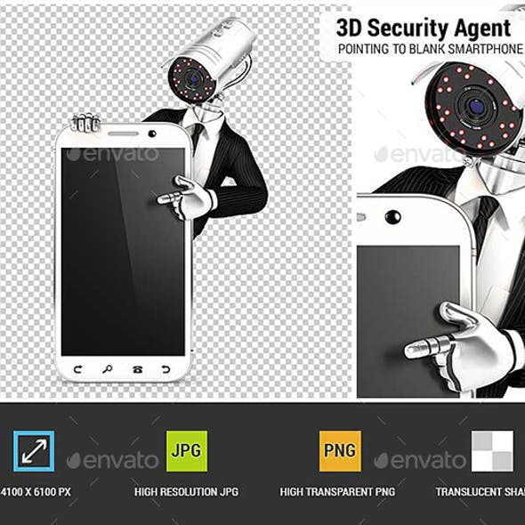 3D Security Agent with Camera Head Pointing to Blank Smartphone