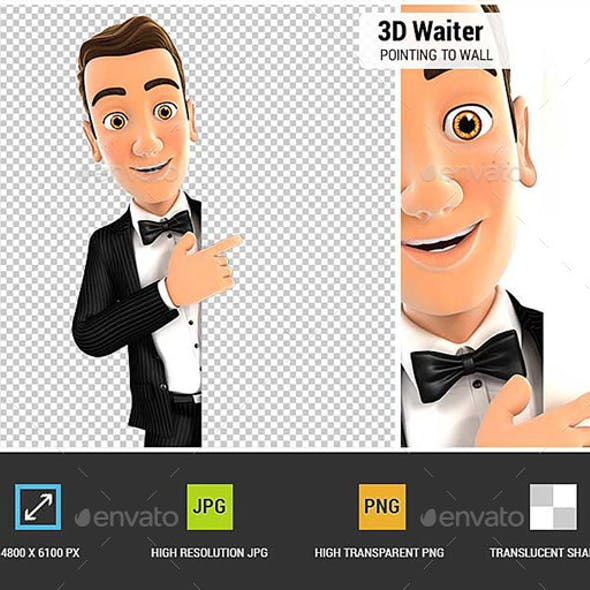 3D Waiter Pointing to Right Blank Wall