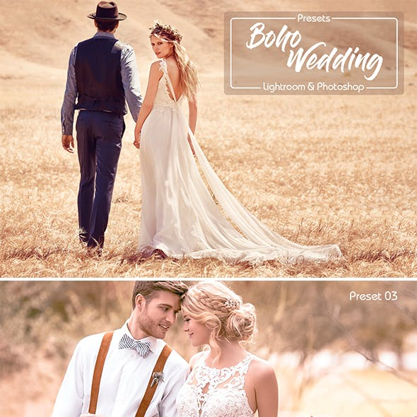 Boho Wedding Lightroom Presets & Photoshop Filters ACR