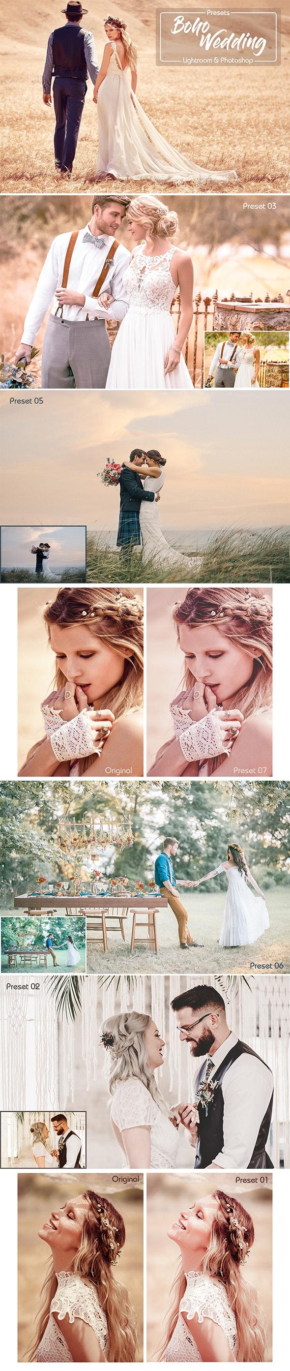 Boho Wedding Lightroom Presets & Photoshop Filters ACR by