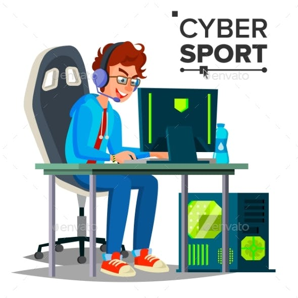 Cyber Sport Player Vector