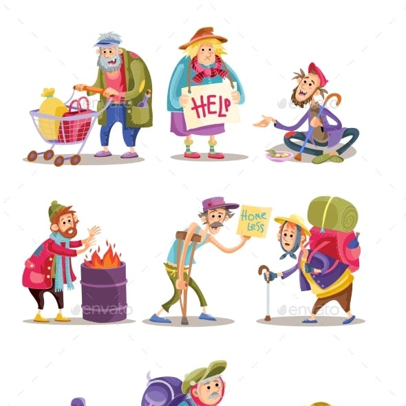 Homeless and Beggars People Vector Cartoon
