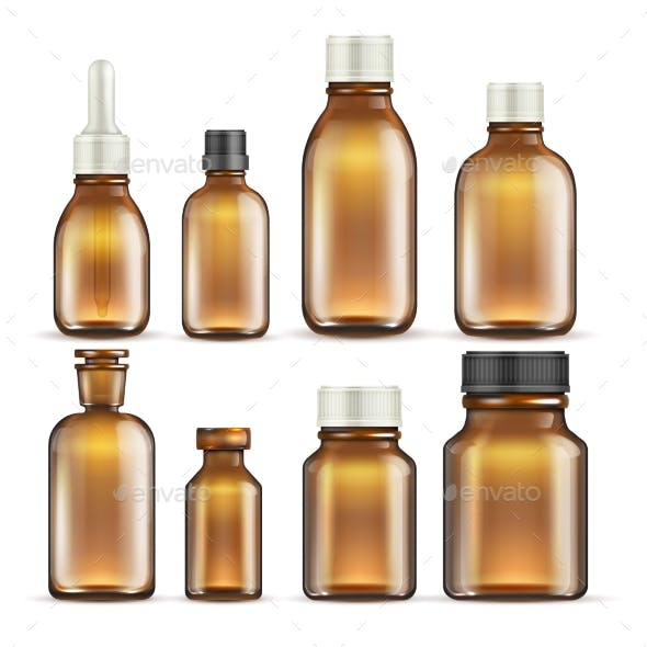 Realistic Brown Glass Medicine and Cosmetic