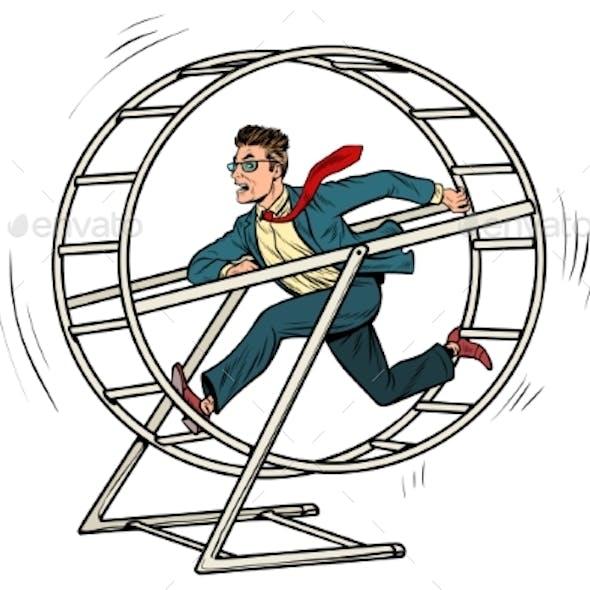 Businessman in a Squirrel Wheel