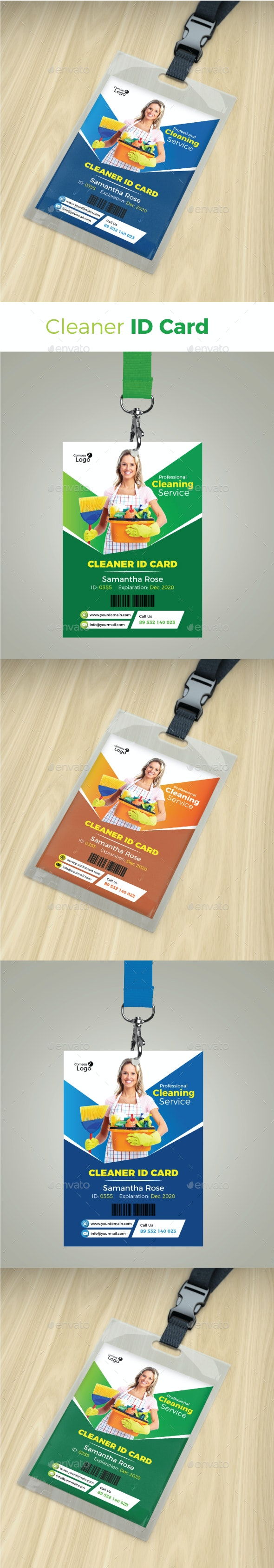 Cleaner Id Card - Miscellaneous Print Templates