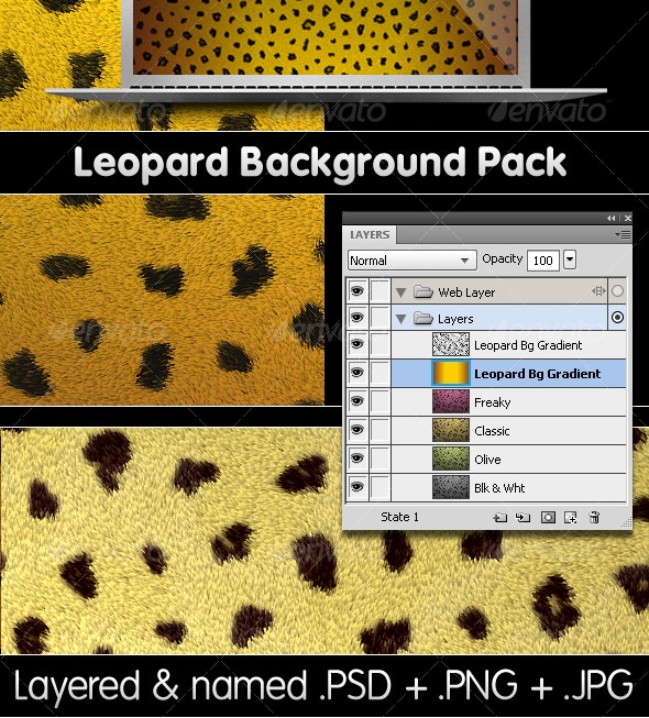 Leopard Backgrounds Pack - PSD & PNG - Backgrounds Graphics