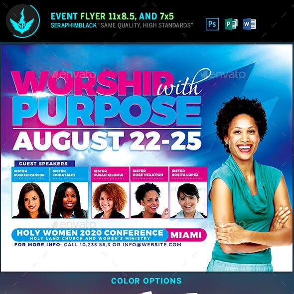 Worship with Purpose Women Conference Flyer Template