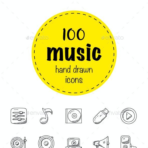 100 Music Hand Drawn Icons Set
