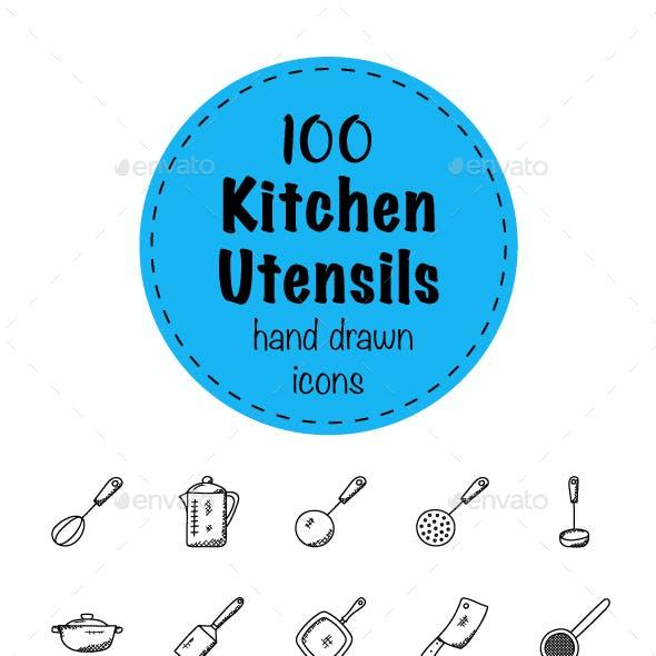 100 Doodles of Kitchen Utensils