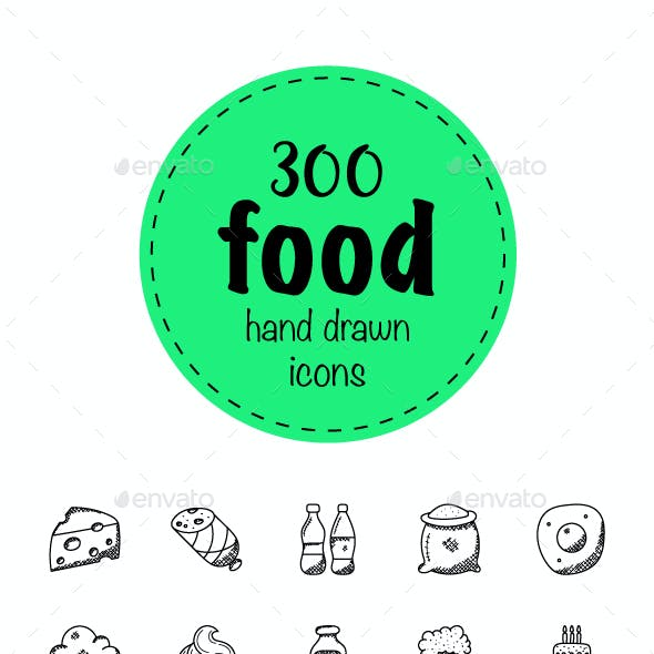 300 Food Hand Drawn Doodles Icons