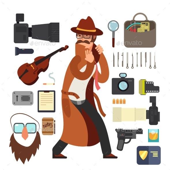 Cartoon Surveillance Detectives with Equipment