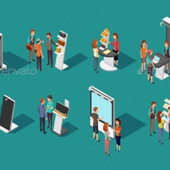 People Standing at Expo Promotional Stands Vector