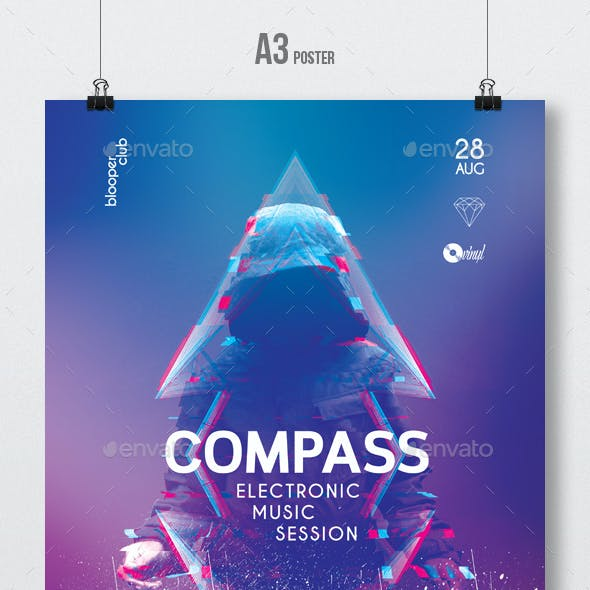 Compass - Progressive Party Flyer / Poster Template A3