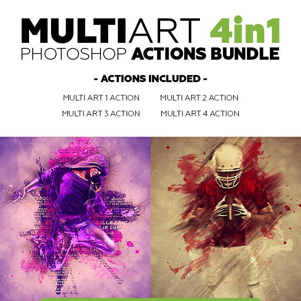 MultiArt 4in1 Photoshop Actions Bundle